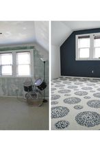 how to use stencils on an old carpet, diy, flooring, painting, Stenciled carpet before and after