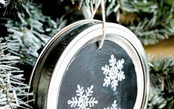 how to make chalkboard mason jar lid ornaments, chalkboard paint, christmas decorations, crafts, mason jars, seasonal holiday decor