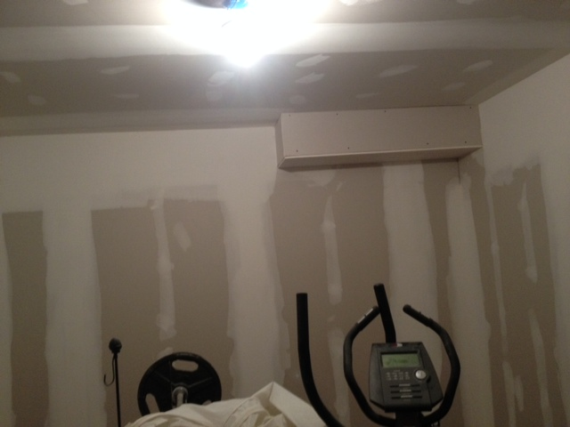 soffit solution in basement suggestions, basement ideas, home improvement, This is the gym with the ugly soffit that will remain