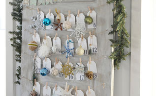 turning a door into a daily ornament advent calendar, chalk paint, christmas decorations, doors, seasonal holiday decor