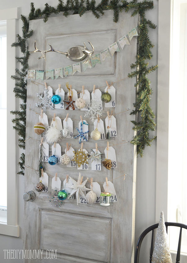 turning a door into a daily ornament advent calendar, chalk paint, christmas decorations, doors, seasonal holiday decor