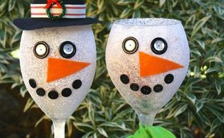 turn old wine glasses into snowman candy jars, christmas decorations, crafts, repurposing upcycling, seasonal holiday decor