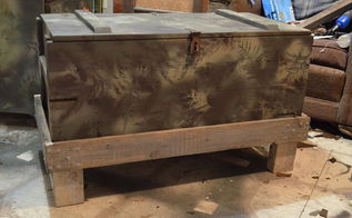 camo painted army trunk idea, painted furniture, repurposing upcycling