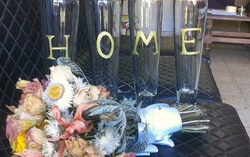 "Glass and Gold ""HOME"" Sign"
