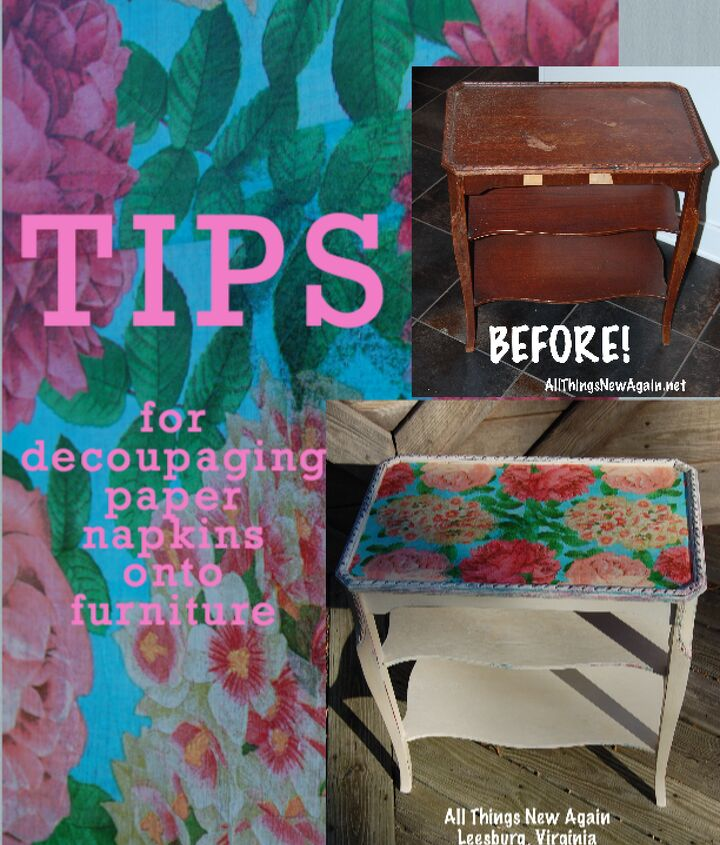 tips for decoupaging paper napkins onto furniture, decoupage, painted furniture