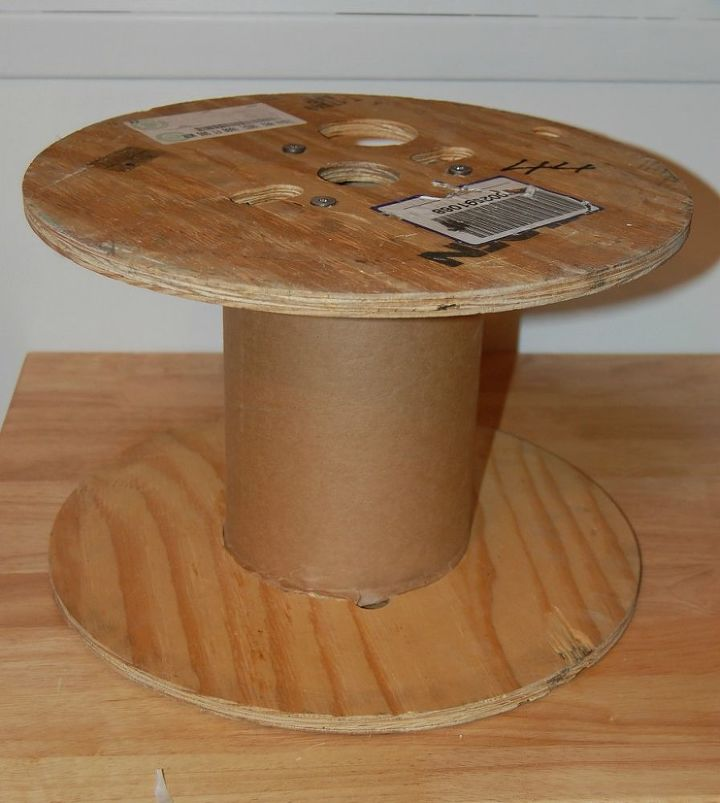 diy vintage fur ottoman from an old cable spool, diy, painted furniture, repurposing upcycling
