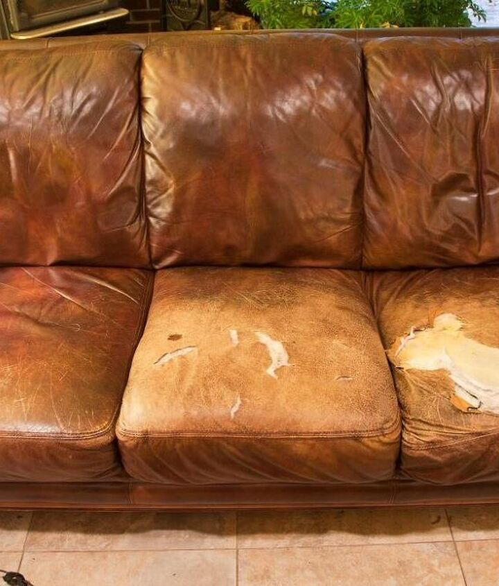 easy quick fix for a battered couch with upholstery fabric