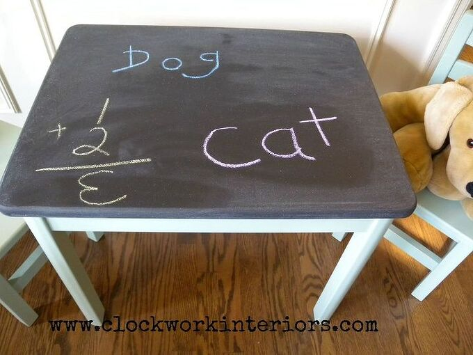 table and chair makeover with chalkboard and milk paint, chalkboard paint, painted furniture