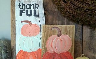 how to paint pumpkin topiary on scrap wood, crafts, painting, seasonal holiday decor