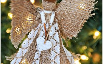 Burlap Angel Christmas Ornament