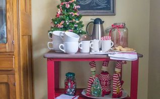repurpose an old kitchen cart into a hot cocoa bar, christmas decorations, seasonal holiday decor