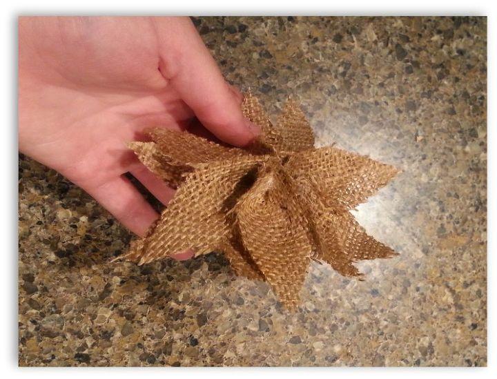 How to make burlap poinsettia christmas ornaments hometalk for Burlap christmas curtains