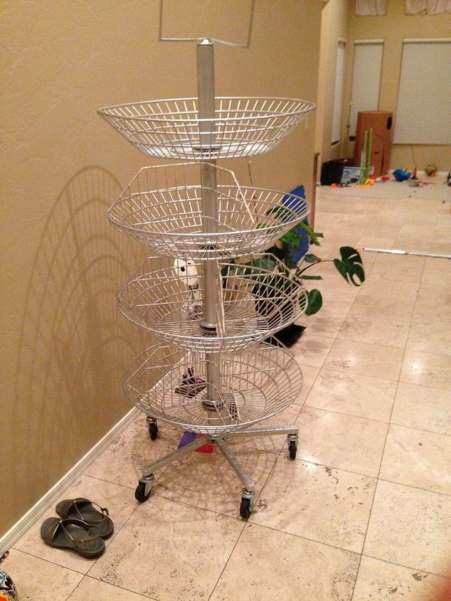 q craft ideas for 4 tiered wire basket store display, crafts, repurposing upcycling, storage ideas