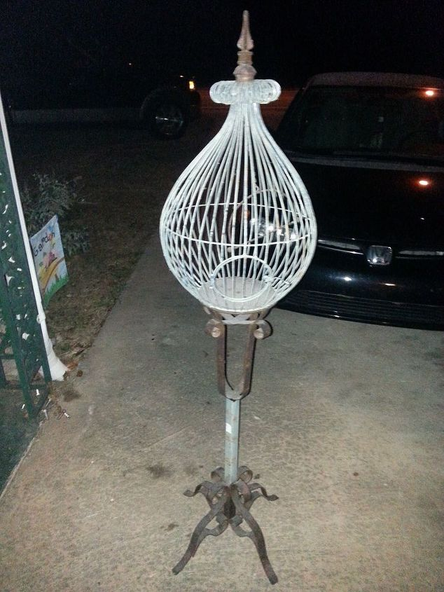 q repurposing thrift store bird cage ideas, gardening, home decor, painting, repurposing upcycling, Before sandblasting