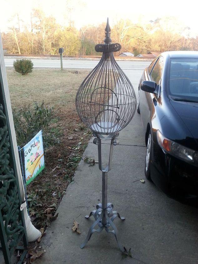 q repurposing thrift store bird cage ideas, gardening, home decor, painting, repurposing upcycling, After sandblasting