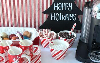 holiday entertaining coffee bar set up, christmas decorations, seasonal holiday decor