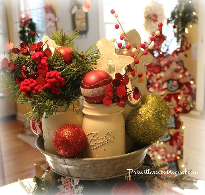 Mason Jar Christmas Decorations: How To Make A Galvanized Tiered Tray Christmas Centerpiece