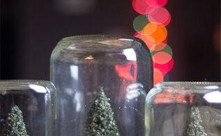 How To Decoupage Christmas Napkins On Mason Jar With Snow