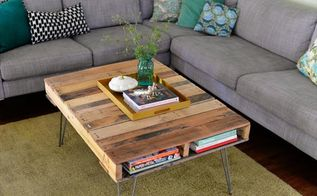 pallet coffee table with metal hairpin legs diy 99 pallets, diy, how to, painted furniture, pallet, repurposing upcycling