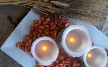 a thanksgiving centerpieces using beans and candles, crafts, seasonal holiday decor, thanksgiving decorations