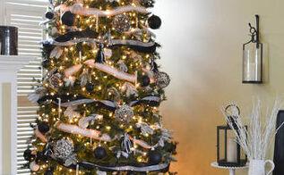 black white burlap christmas tree decorations, christmas decorations, crafts, seasonal holiday decor