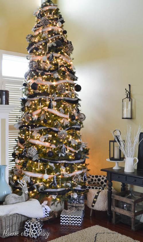 Black White Burlap Christmas Tree Decorations Crafts Seasonal Holiday Decor