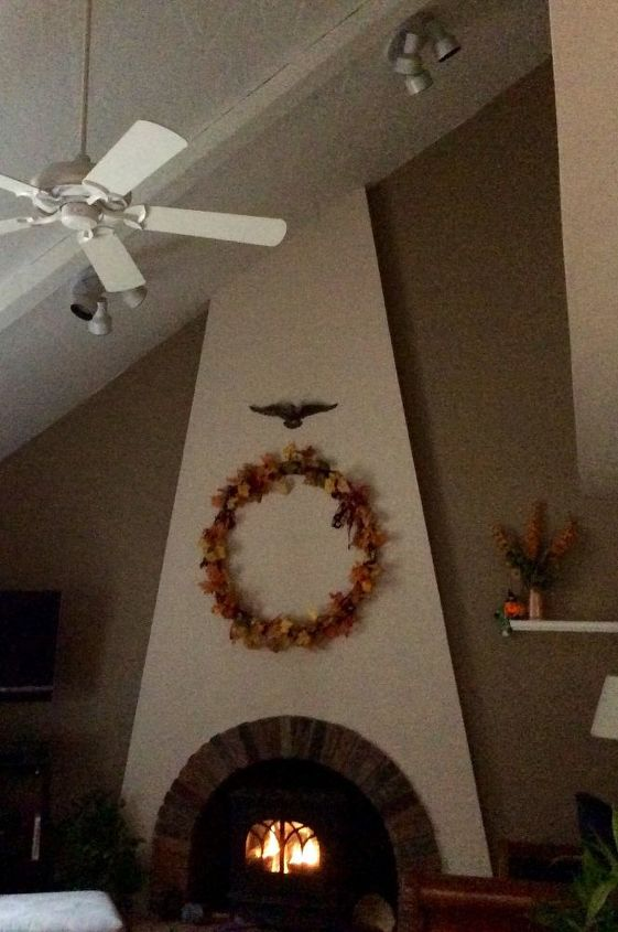 fireplace decor ideas for fall, fireplaces mantels, Hight ceiling fan