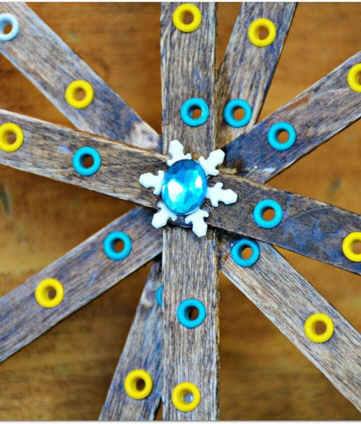 popsicle stick snowflakes craft project idea, crafts