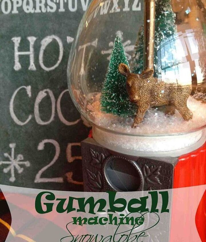 gumball machine snow globe, christmas decorations, crafts, repurposing upcycling, seasonal holiday decor