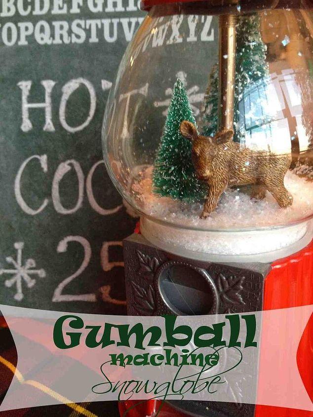 gumball machine snow globe, christmas decorations, crafts, repurposing upcycling, seasonal holiday decor
