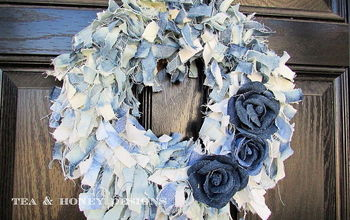 Denim Jeans Rag Wreath & Flowers