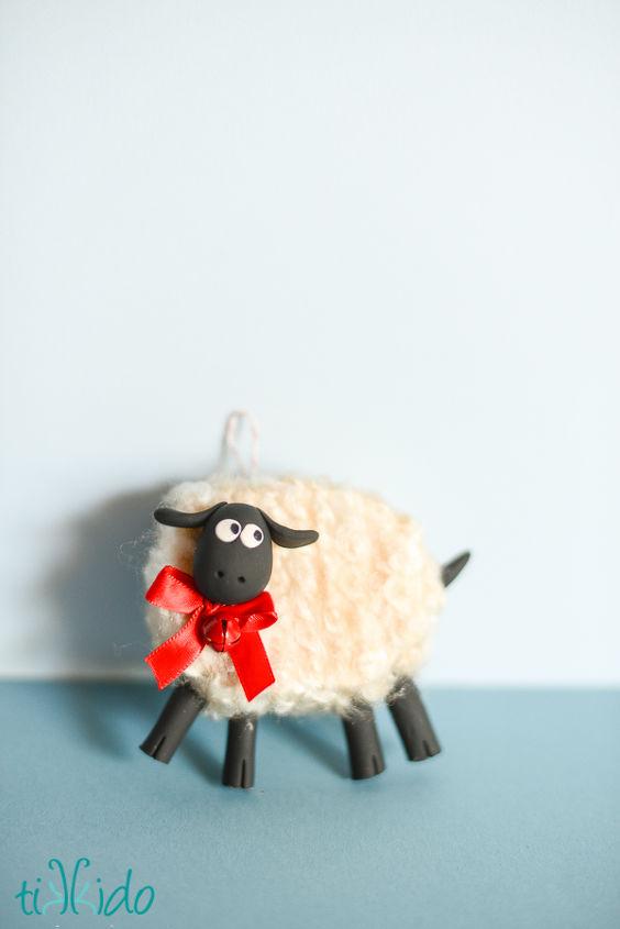 how to make a fluffy friendly sheep christmas ornament, christmas decorations, crafts, seasonal holiday decor