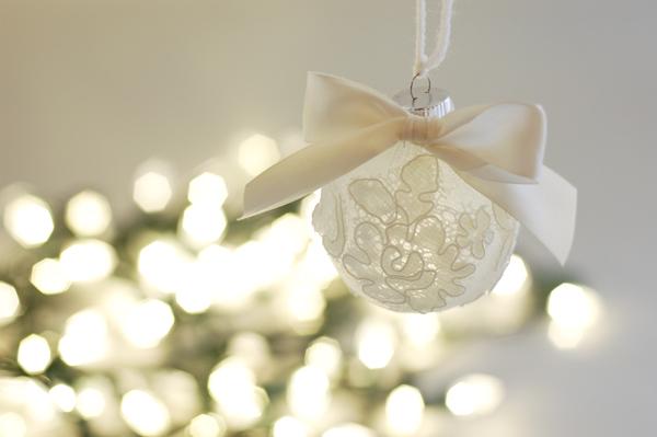christmas ornament made from wedding veil scraps, christmas decorations,  seasonal holiday decor - Christmas Ornament Made From Wedding Veil Scraps Hometalk
