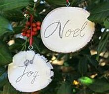 rustic wood slice ornaments, christmas decorations, crafts, seasonal holiday decor