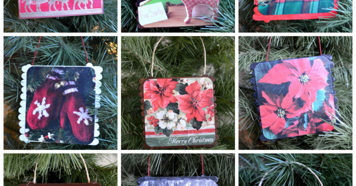 DIY Mini-Pallet Ornaments With Old Christmas Cards | Hometalk