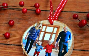 DIY Birch Coaster Photo Ornaments