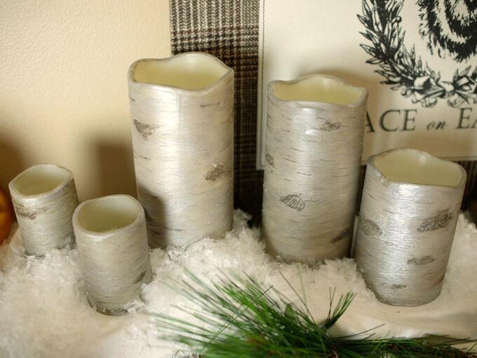 pottery barn knockoff diy birch candles, christmas decorations, crafts, seasonal holiday decor