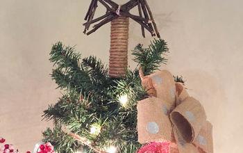 DIY Burlap Bow Ornaments & Twig Tree Topper