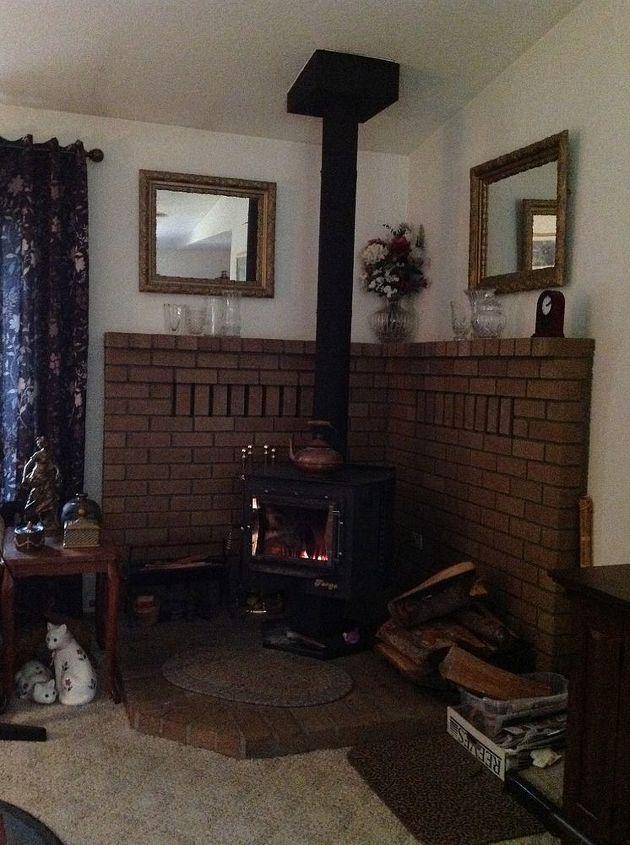 q freestanding stove area decor ideas, diy, home decor, living room ideas