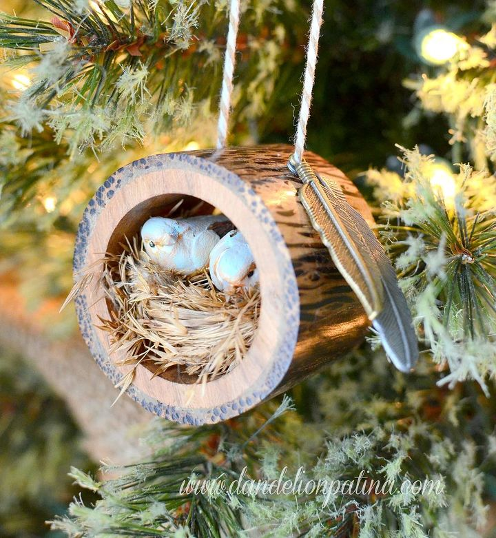 rustic log bird nest ornament christmas decorations crafts repurposing upcycling seasonal holiday