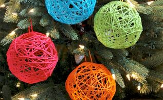 how to make yarn ball ornaments, christmas decorations, seasonal holiday decor