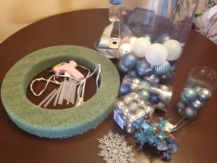 how to make a frozen inspired ornament wreath, christmas decorations, crafts, seasonal holiday decor, wreaths, Supplies needed