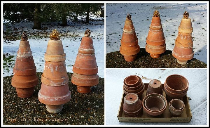how to make terra cotta garden pot trees, christmas decorations, repurposing upcycling, seasonal holiday decor