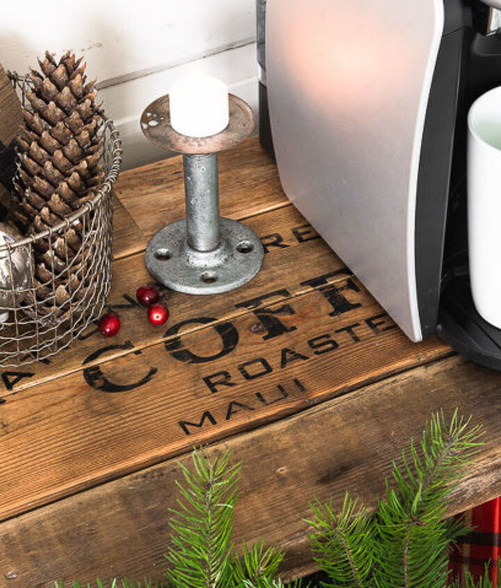 vintage cart to instant hot chocolate station for christmas, christmas decorations, repurposing upcycling, seasonal holiday decor, woodworking projects