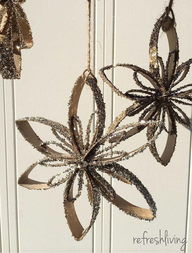 upcycled toilet paper tube snowflake ornaments, christmas decorations, crafts, repurposing upcycling, seasonal holiday decor