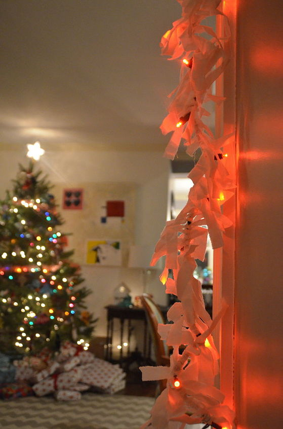how to make scrap fabric light garland, christmas decorations, lighting, seasonal holiday decor