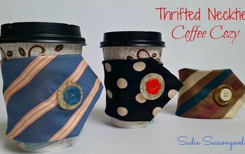 Thrifted Necktie Coffee Cozy