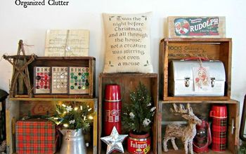 Organized Cluttered Rustic Crate Christmas Mantel