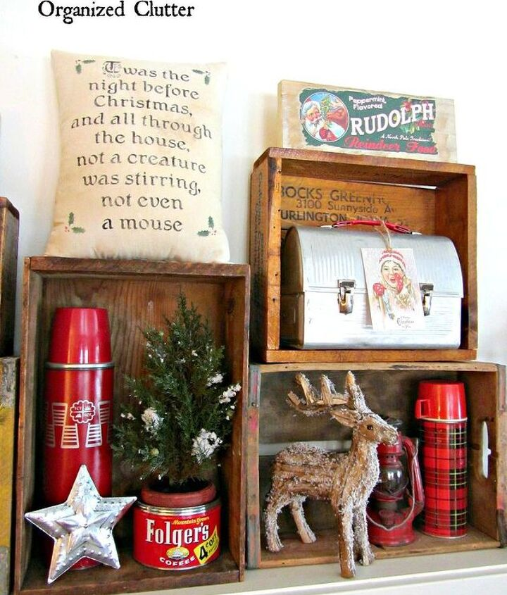 organized cluttered rustic crate christmas mantel, christmas decorations, fireplaces mantels, seasonal holiday decor