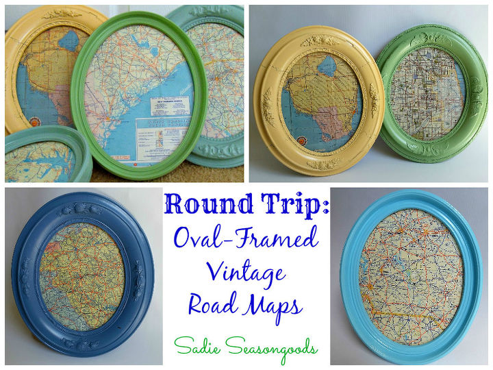 oval framed vintage road maps, crafts, repurposing upcycling